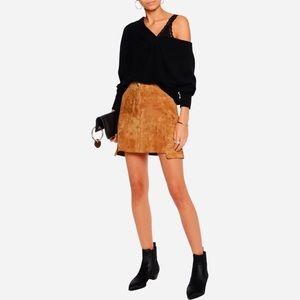 NWT Luxurious Helmut Lang Tan Suede Miniskirt